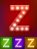 Vector illustration of realistic old lamp alphabet for light board. Vintage vegas show typography. Letter Z Stock Images
