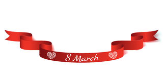 Vector illustration realistic ribbon on the topic 8 March International Women s Day.  Royalty Free Stock Photos
