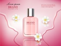 Vector illustration of a realistic style perfume in a glass bottle on a pink background with flowers. Great advertising vector illustration