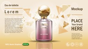 Vector illustration of a realistic style perfume in a glass bottle on a yellow background with triangles particles. Great advertis. Vector illustration of a vector illustration