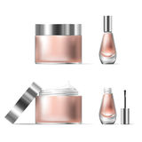 Vector illustration of a realistic style of transparent glass cosmetic containers with open silver lid Royalty Free Stock Photos