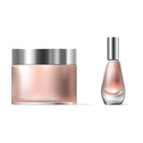 Vector illustration of a realistic style of transparent glass cosmetic containers with a silver lid Royalty Free Stock Image