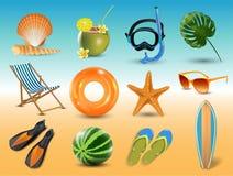 Vector illustration of Realistic summer holidays seaside beach icons set isolated on seaside background. Realistic summer holidays seaside beach icons set stock illustration