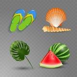 Vector illustration of Realistic summer holidays seaside beach icons set isolated on transparent background Royalty Free Illustration