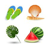 Vector illustration of Realistic summer holidays seaside beach icons set isolated on white background Royalty Free Illustration
