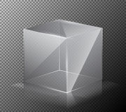 Vector illustration of a realistic, transparent, glass cube  on a gray background. Stock Photo