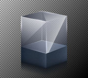 Vector illustration of a realistic, transparent, glass cube isolated on a gray background. Royalty Free Stock Image