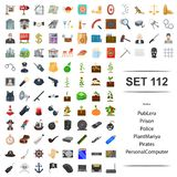 Vector illustration of realtor, pub, prison, police, plant pirate personal computer icon set. Vector illustration of realtor, pub, prison, police, plant pirate stock illustration