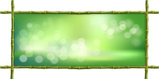 Rectangle green bamboo stems border frame with bokeh background. Vector illustration of rectangle green bamboo stems border frame, blur bokeh background and vector illustration