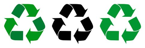 Vector illustration recycle symbol with three design Stock Image