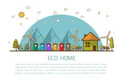 Eco home with bins Vector illustration. Vector illustration of recycling trash bins Municipal waste segregation management concept.  flat line style concept of Stock Photography