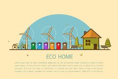 Eco home with bins Vector illustration Stock Image