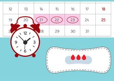 Vector illustration of red alarm clock and a blood period calendar. Menstruation period pain protection, blood drops. royalty free illustration