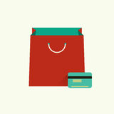 Vector illustration of red bag  for shopping and Stock Photo