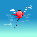 Vector illustration of red balloon on sky background. Outline Royalty Free Stock Photography