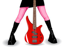 Vector illustration of red bass guitar and legs Stock Image