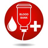 Blood bank - red drop and cross. Vector illustration of red blood drop with bottle hand on white background Stock Photos