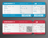 Airline boarding pass ticket tear-off element set,  on transparent background. Vector illustration. Red and blue passenger. Vector illustration. Red and blue Stock Photography