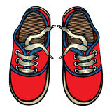 Vector illustration red and blue sports sneakers Royalty Free Stock Images