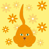 Vector illustration of red cat on the yellow background with flo Royalty Free Stock Images