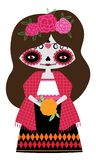 Red catrina doll vector illustration