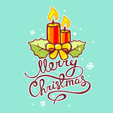 Vector illustration of red christmas candles and hand written te. Xt on green background with snowflakes. Hand draw line art design for web, site, advertising Royalty Free Stock Photos