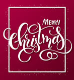 Vector illustration of red christmas greeting card with rectangle frame and hand lettering label - merry christmas.  Royalty Free Stock Photos