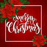 Vector illustration of red christmas greeting card with rectangle frame, poinsettia flowers and hand lettering label -. Merry christmas Stock Photography