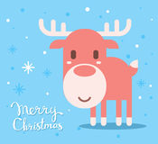 Vector illustration of red christmas reindeer with handwritten t Royalty Free Stock Image