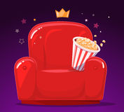 Vector illustration of red cinema armchair with popcorn on purple Stock Image