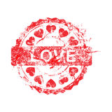 Vector illustration red color of grunge rubber stamp love and he Stock Image