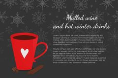 Vector illustration with red cup, cinnamon, anise and snowflakes black background with place for text. stock illustration