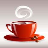 Vector illustration of a red cup of hot coffee grain pairs Royalty Free Stock Photo