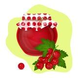Vector illustration of red currants jam. vector illustration