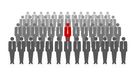 Vector illustration of red devil in crowd Royalty Free Stock Photo