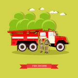 Vector illustration of red fire engine in flat style. Vehicle carrying firefighters and equipment for fighting fires. Fire truck and firefighters in uniform Stock Images