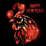 Vector illustration with red fire rooster head isolated on black. Symbol of chinese new year Royalty Free Stock Image