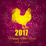 Vector Illustration of Red Fire Rooster, Symbol of 2017 Year on. The Chinese Calendar. Happy New Year and Merry Christmas Background. EPS10 Royalty Free Stock Images
