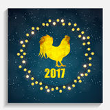 Vector Illustration of Red Fire Rooster, Symbol of 2017 Year on. The Chinese Calendar. Happy New Year and Merry Christmas Background. EPS10 Royalty Free Stock Image