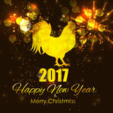 Vector Illustration of Red Fire Rooster, Symbol of 2017 Year on. The Chinese Calendar. Happy New Year and Merry Christmas Background. EPS10 Stock Photo
