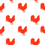 Vector Illustration of Red Fire Rooster, Symbol of 2017 Year on. The Chinese Calendar Seamless Pattern Background. EPS10 Royalty Free Stock Photo