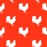 Vector Illustration of Red Fire Rooster, Symbol of 2017 Year on. The Chinese Calendar Seamless Pattern Background. EPS10 Stock Photography