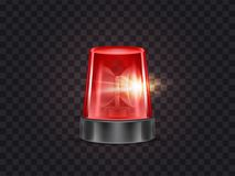 Vector red emergency flashing beacon with siren. Vector illustration of red flasher, flashing beacon with siren for police and ambulance cars, isolated on stock illustration