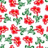 Vector illustration of red flowers seamless pattern in chaotic order. Stock Image