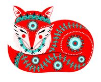 Vector illustration with red fox and flowers in a folk style. Vector illustration with red fox and flowers in a folk needlework style. Template for design Stock Images