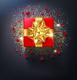 Vector illustration . Red gift box with gold bow isolated Royalty Free Stock Image