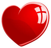 Vector illustration of red glossy heart Stock Photos