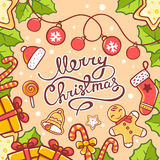 Vector illustration of red and green christmas items and hand wr. Itten text on yellow background. Hand draw line art design for web, site, advertising, banner Royalty Free Stock Photos