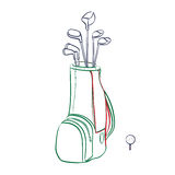 Vector illustration of red and green golf bag vertical layout. With golf clubs on a white background in the style thumbnail Royalty Free Stock Photo