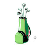 Vector illustration of red and green golf bag vertical. Layout with golf clubs on a white background in the style thumbnail Stock Photos